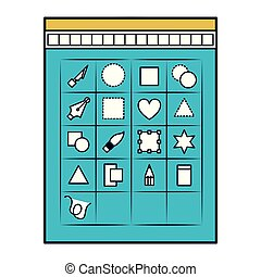 white background with color sections silhouette of tool box for designer graphic