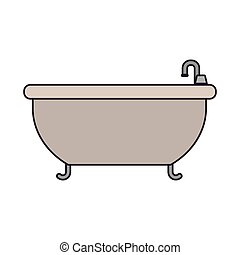 white background with color silhouette of bathtub icon with thin contour