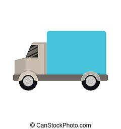 white background with color silhouette of truck with wagon