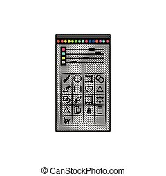 white background with colored crayon silhouette of color palette and tool box for designer graphic