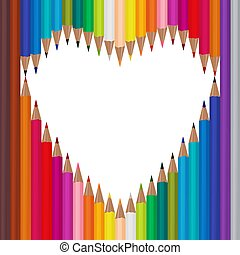 White background with colored pencils. heart frame, vector illustration