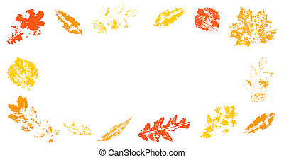White background with colorful autumn leaves. Space for text.
