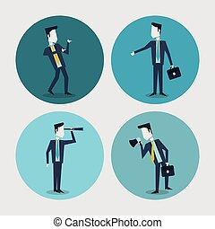 white background with colorful circle frames of business men...