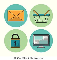 white background with colorful circular frames with icons of e-commerce and shopping as mail envelope and basket and padlock and computer