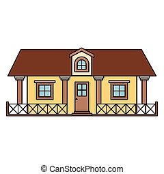 white background with colorful country house with railing...