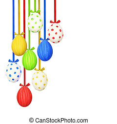 White background with colorful easter eggs hanging on silk ribbons