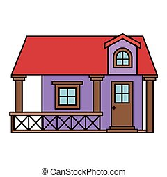 white background with colorful facade house with railing and attic