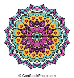 white background with colorful flower mandala vintage decorative circles ornament