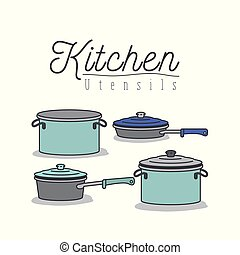 white background with colorful set of kitchen pots and pans...
