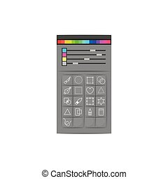 white background with colorful silhouette of color palette and tool box for designer graphic