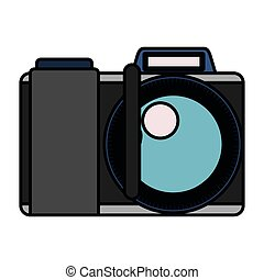 white background with colorful silhouette photo camera with thick contour