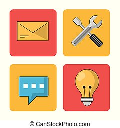 white background with colorful squares with mail and tools and light bulb and speech bubble