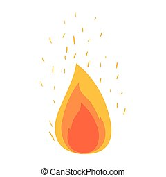 white background with flame and fire sparks