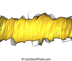 White Background with golden crack. Design template