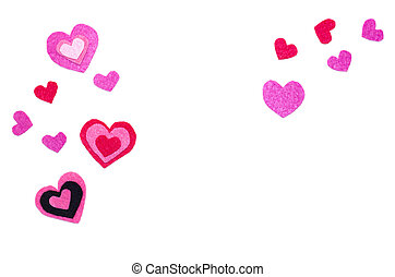 White background with hearts.