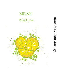 White background with lemon. Vector