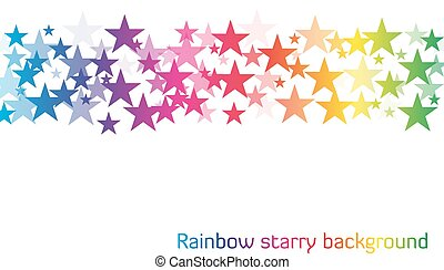 White background with line of stars in rainbow colors with different transparency