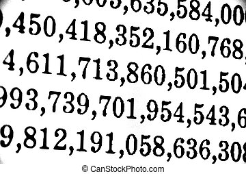 White background with many numbers