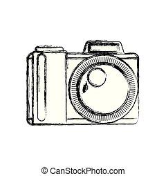 white background with monochrome blurred silhouette photo camera