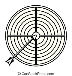 white background with monochrome silhouette of arrow on target