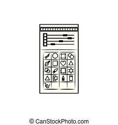 white background with monochrome silhouette of color palette and tool box for designer graphic