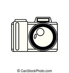 white background with monochrome silhouette photo camera