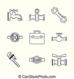 white background with monochrome silhouettes of plumbing tools