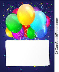 White background with multicolored balloons.