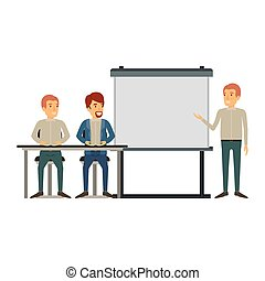 white background with pair of man sitting in a desk for executive lecturer in presentacion business people