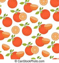 white background with pattern of orange fruits