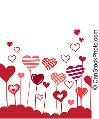 White background with red and pink growing hearts