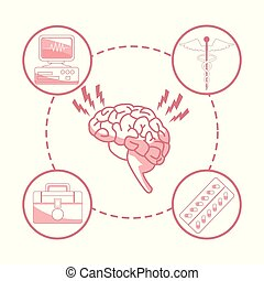 white background with red color sections of silhouette brain organ with circular frame elements health