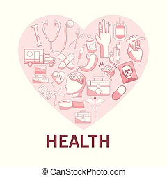 white background with red color sections of silhouette heart shape with elements health