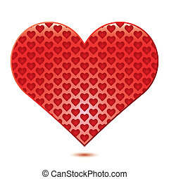 White background with red Heart, illustration.vector