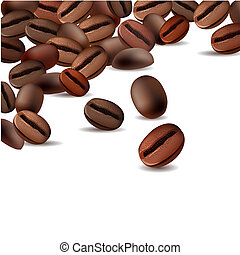 White background with roasted coffee beans