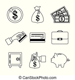 white background with set of monochrome graphics related to money