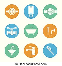 white background with set of plumbing icons in circles