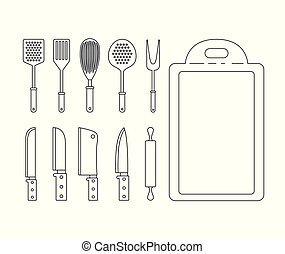 white background with set silhouette group of kitchen utensils knifes and cutting board