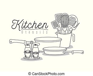 white background with set silhouette kitchen utensils vector...