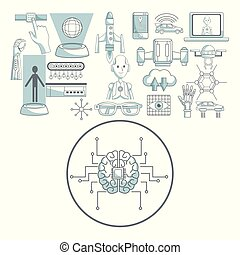 white background with silhouette color sections shading of circular frame brain with circuits and set icons tech futuristic objects in top