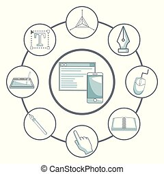 white background with silhouette color sections shading of window and mobile phone in center with to icons graphic design in circular frame around
