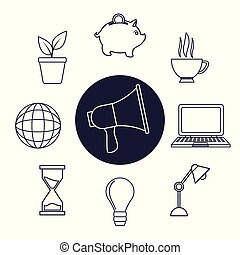 white background with silhouette megaphone set icons elements office around