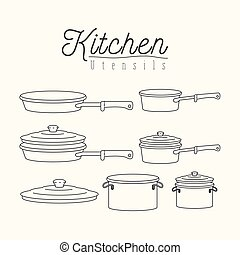 white background with silhouette set of kitchen pots and...