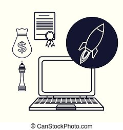 white background with silhouette tech laptop star up icons investment business