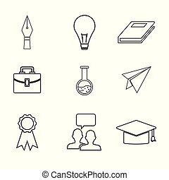 white background with sketch contour icons academic...