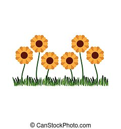 white background with sown of abstract sunflowers
