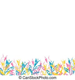 White background with stamp leaves. Spring floral ornament