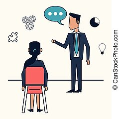 white background with strategy business meeting between businessman and businesswoman