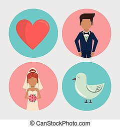 white background with wedding icons on round frames