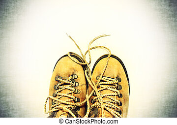 White background with yellow shoes